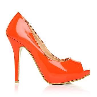 TIA Orange Patent PU Leather Stiletto Very High Heel Platform Peep Toe Shoes