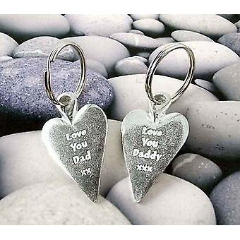 Love You Daddy xxx Heart Pewter Key Ring