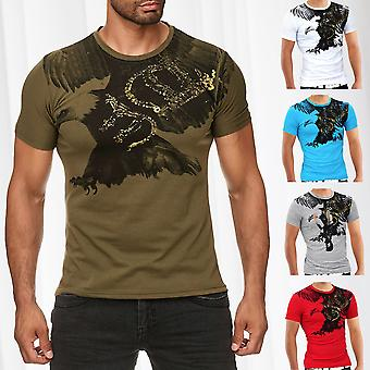 Men Summer T-Shirt Polo Stretch Slim fit Clubwear Shirt Flying Eagle
