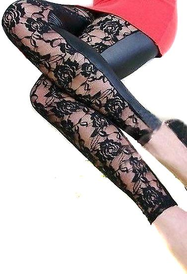 Waooh - Fashion - Leggings vinyl and lace - Long