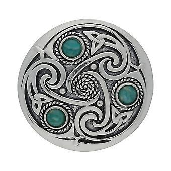 Handgemachte keltische Triskele 3 Amazonite Edelsteine Zinn Brosche