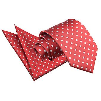 Cravatta pois rosso scuro & Set Square Pocket