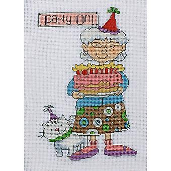 Party On Counted Cross Stitch Kit-5