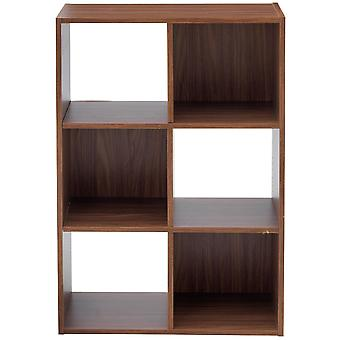 Boxx - 6 Square Cube Storage Shelf Unit / Display Shelves - Walnut