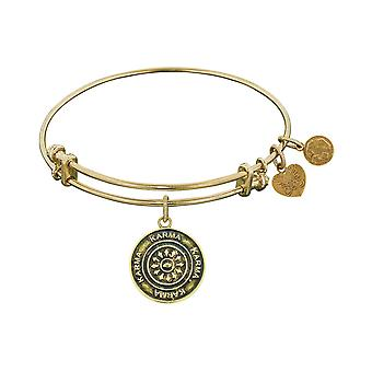 Smooth Finish Brass Karma Angelica Bangle Bracelet, 7.25