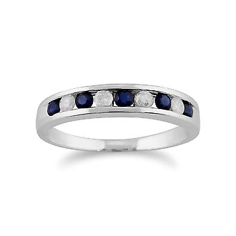 9ct White Gold 0.27ct Natural Sapphire & Diamond Half Eternity Ring