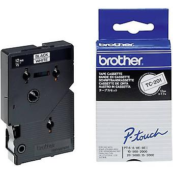 Etiquetado cinta color Brother TC-201 Tape: color de fuente blanco: negro 12 mm 7,7 m