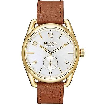 Nixon The C39 Leather Watch - Gold/Saddle/White