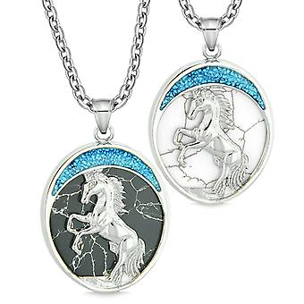 Courage Horse Wild Mustang Couple Best Friends Simulated Marble Simulated White Turquoise Necklaces