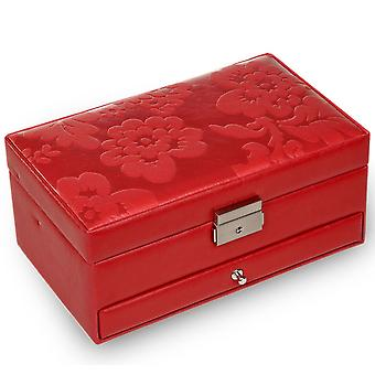 Jewelry box jewelry box red Sacher leather suede Office automatic tray mirror