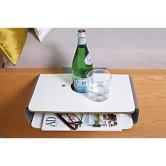 Mini nachtkastje nacht console wit / zilveren bed opslag Klembord