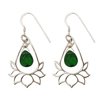 Ladies - earrings - earrings - 925 Silver - Lotus Flower - mandala - tourmaline quartz - drop - green - YOGA - 4 cm