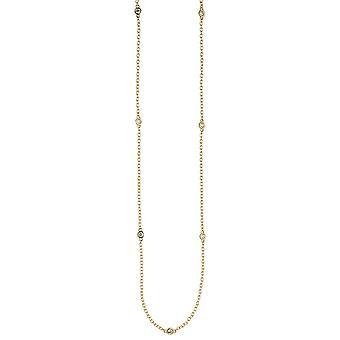 Золота 925 стерлингового серебра ожерелье ожерелье покрытием 7 цепи цирконий 47 см