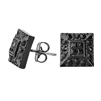 Iced out bling earrings box - HOT black SQUARE