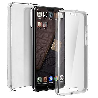 Silicone case + back cover in polycarbonate for Huawei P20 - Ultra clear