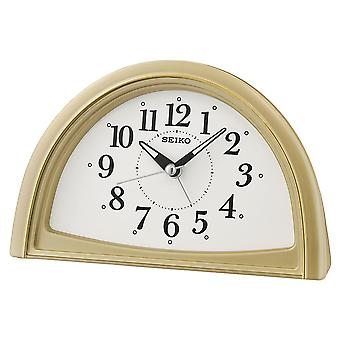 Seiko QHE166G Analogue Beep Bedside Travel Alarm Clock - Gold