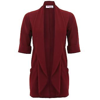 Ladies 3/4 Turn Up Sleeve Textured Open Front Collared Waterfall Blazer Jacket