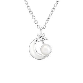 Moon And Star - 925 Sterling Silver Jewelled Necklaces - W37201X