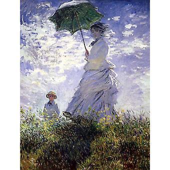 Eine Frau mit einem Sonnenschirm, Claude Monet, 50x40cm