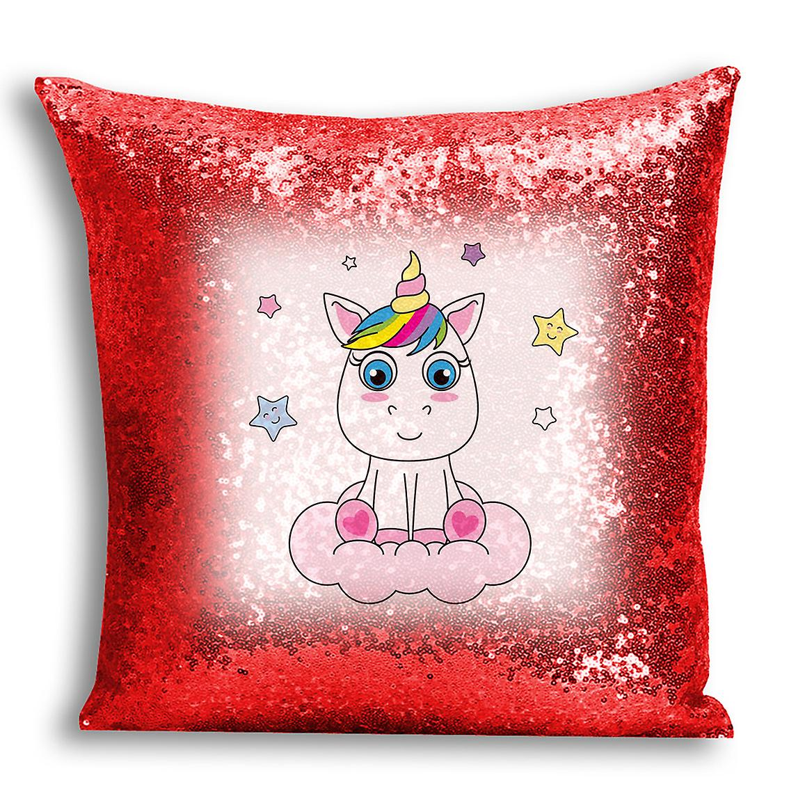 Design Red With Sequin Cover I Inserted Decor Printed tronixsUnicorn Home 8 CushionPillow For Pn0Okw