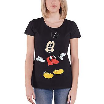 Official Mickey Mouse T Shirt Surprised face Disney new Womens Black Skinny Fit