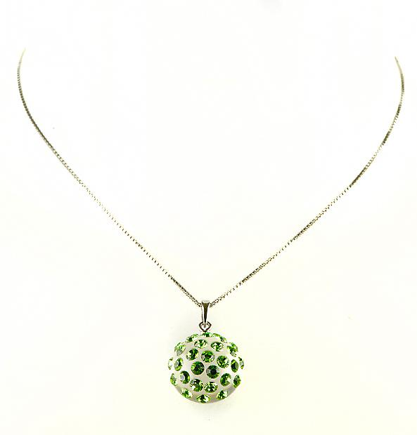 Waooh - Fashion Jewellery - WJ0284 - Necklace with Swarovski Strass Emerald Green - Pendant Set with Transparent