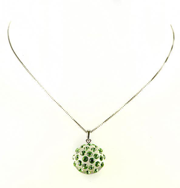 Waooh - sieraden - WJ0284 - ketting met Swarovski groen smaragd - hanger instellen met heldere Strass