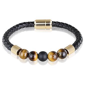 Skipper bracelet cuir bracelet avec perles 21,5 cm noir/brun 7726