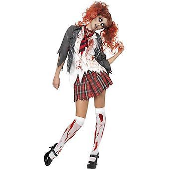 High School Horror Zombie Schoolgirl drakt, UK kjole 16-18