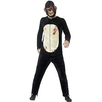 Zombies Deluxe chimpancé traje, negro, con traje y la máscara de EVA