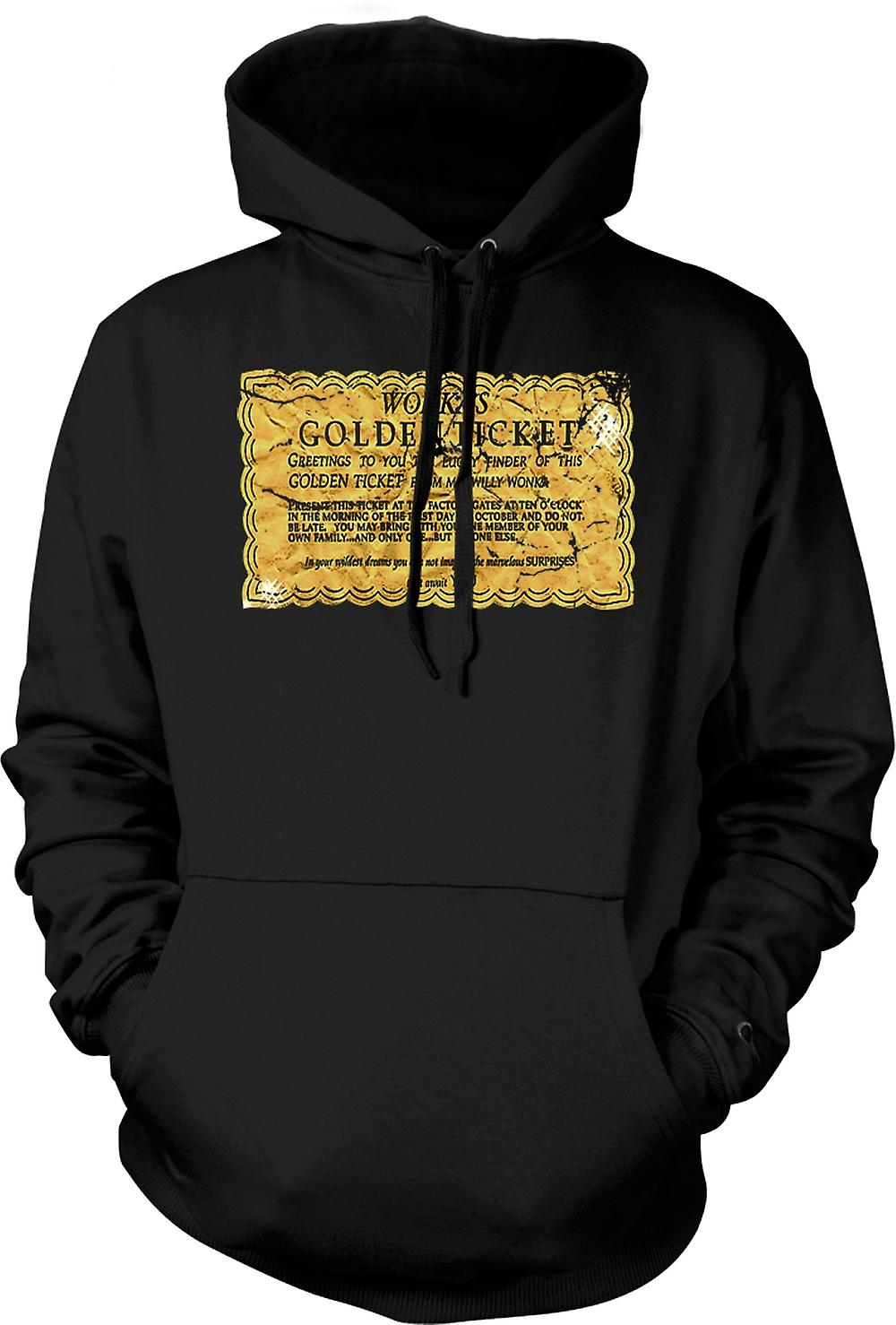 Mens Hoodie - Willy Wonka Golden Ticket - Drôle