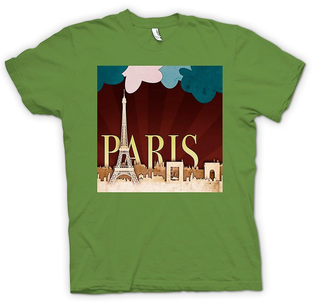 Mens t-shirt-Poster Parigi retrò Cool