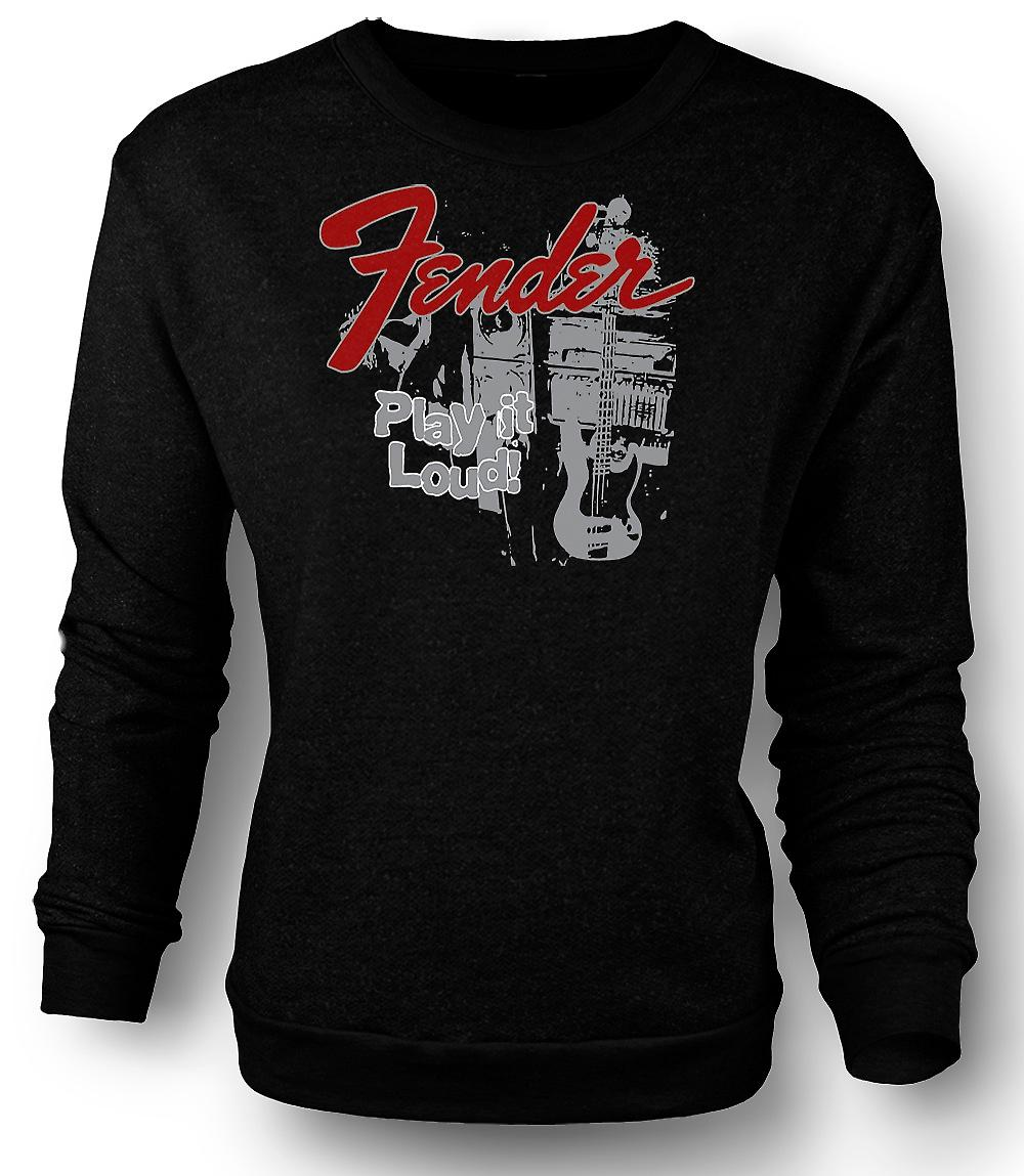 Mens Sweatshirt Fender Strat Play Loud - Guitar