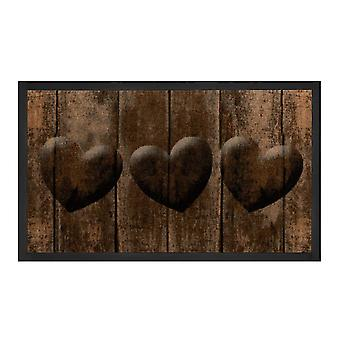 Dirt trapping pad Hearts Brown Grau 45 x 75 cm