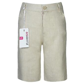 Boys Summer Linen Beige Short
