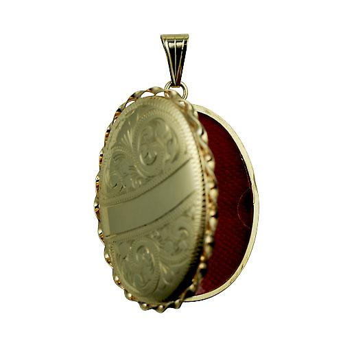 9ct Gold 37x28mm engraved twisted wire edge oval Locket