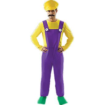Orion Costumes Mens Bad Plumber Wario Retro 80s Video Game Fancy Dress Costume