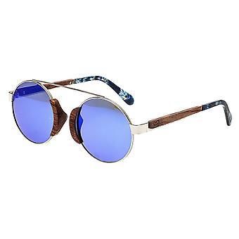 Earth Wood Talisay Polarized Sunglasses - Silver/Purple-Blue