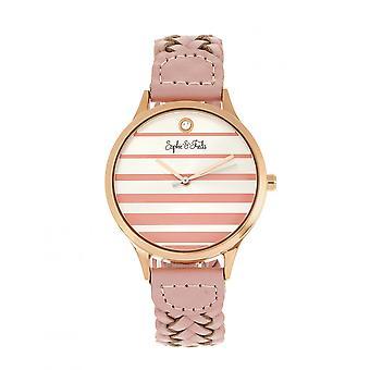 Sophie & Freda Tucson Leather-Band Watch w/Swarovski Crystals - Rose Gold/Pink