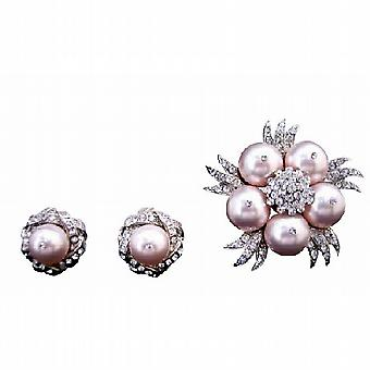 Gorgeous Swarovski Rose Pearls Brooch with Matching Earrings