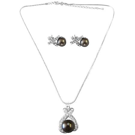 Darkest Brown Chocolate Pearls Pendant Earrings Swarovski Jewelry Set