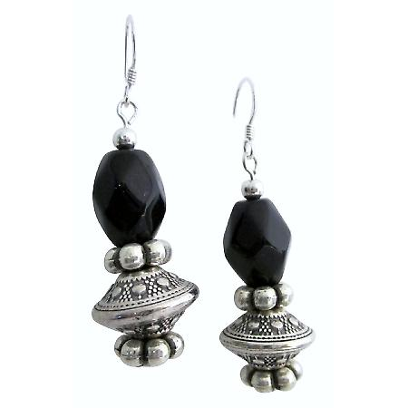 Affordable Elegance Onyx Barrel Beads Earring
