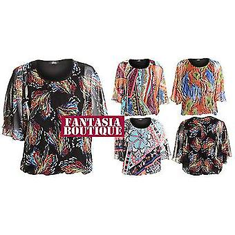 Ladies Chiffon Floral Flower Half Sleeve Printed Top Women's Blouse
