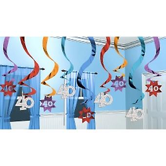 40 Hanging Swirl Decoration Party Continues 15 strings (Quantity 1)