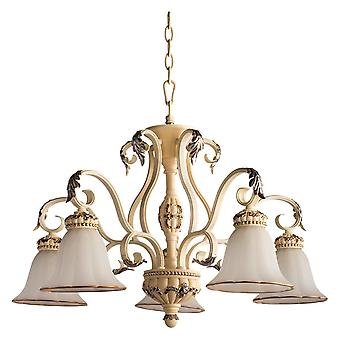 Glasberg  -  Milk Coloured Five Light Chandelier With Glass Shades  254019205