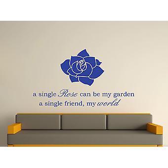 A Single Rose Wall Art Sticker - Brilliant Blue