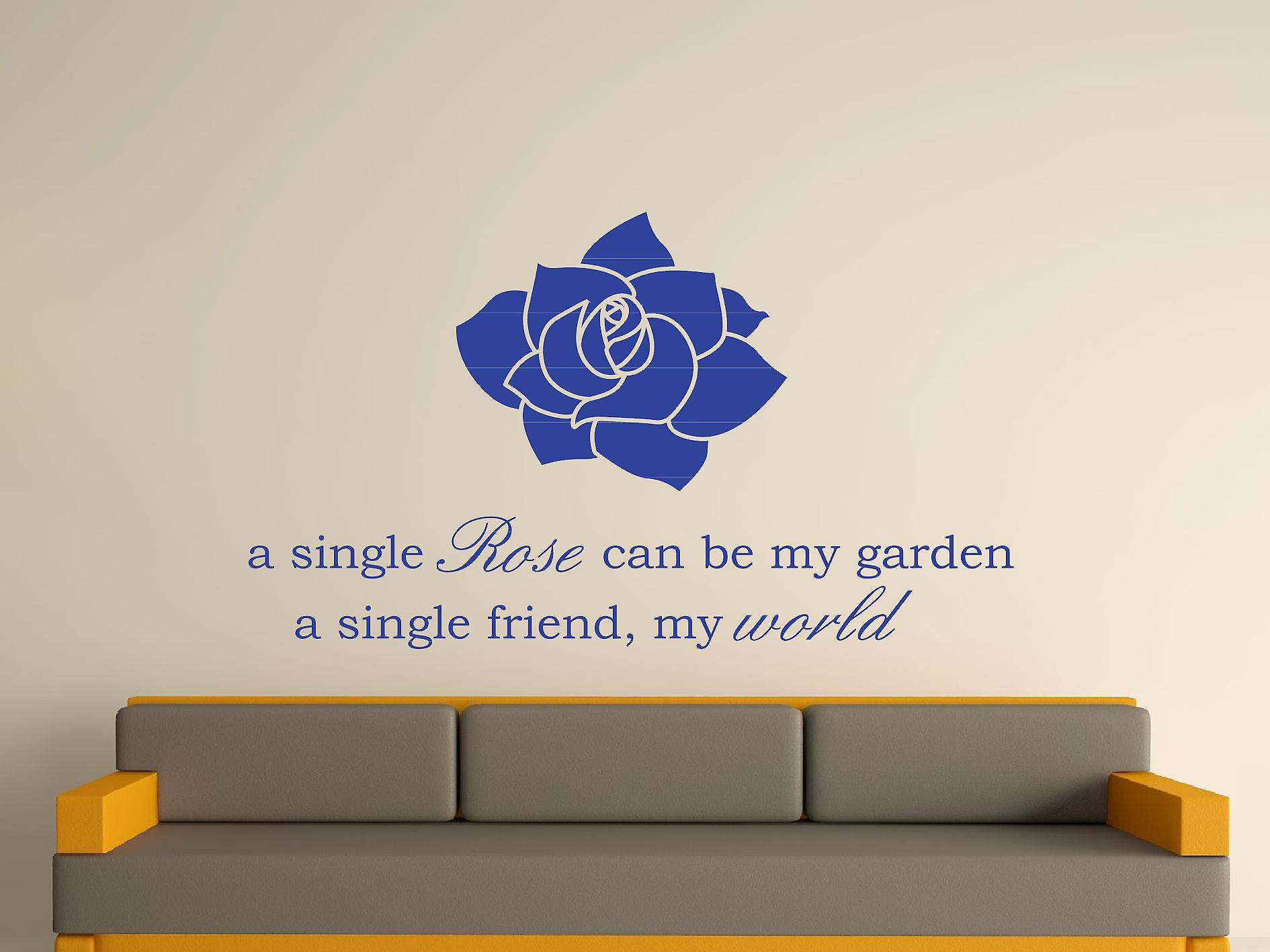 A Single Rose Wall Art Sticker - Brilliant Blue