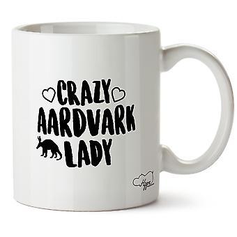 Hippowarehouse Crazy Aardvark Lady Ceramic, White 10 oz Mug