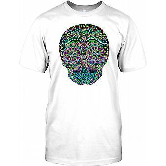 Mexican Sugar Skull - Black Neon Mens T Shirt