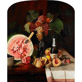 Still life and watermelon, William Merritt Chase, 71(1) x61cm